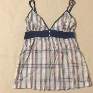 Billabong blue plaid tank top, small